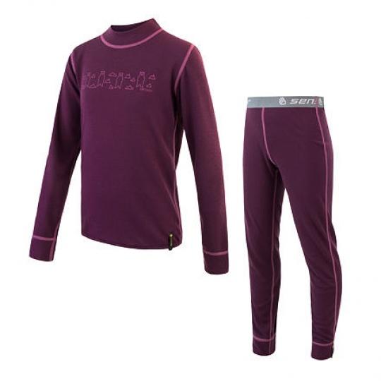 SENSOR DOUBLE FACE SET BEARS dětský triko dl.rukáv + spodky fialová Velikost: