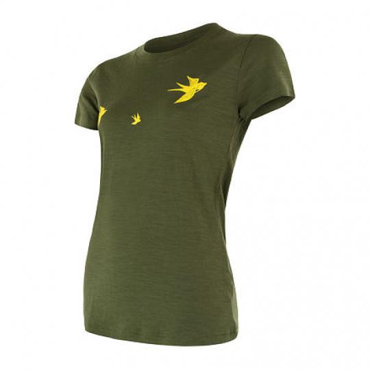 SENSOR MERINO ACTIVE PT SWALLOW dámské triko kr.rukáv safari green Velikost: