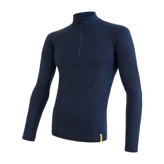 SENSOR MERINO DF pánské triko dl. rukáv zip deep blue