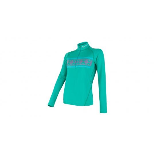 SENSOR THERMO dámské triko dl.rukáv zip sv.zelená/vzor