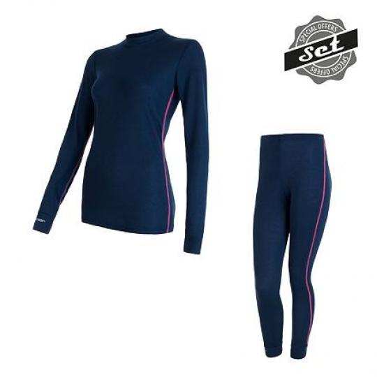 SENSOR ORIGINAL ACTIVE SET dámský triko dl.rukáv + spodky tm.modrá Velikost: