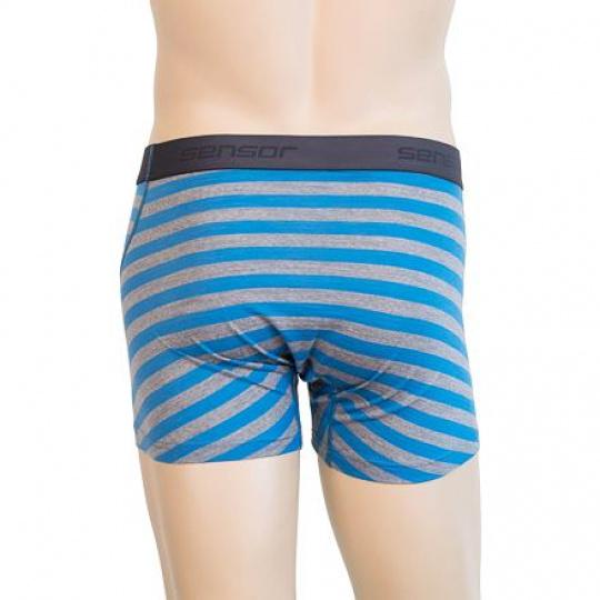 SENSOR MERINO ACTIVE pánské trenky modrá/šedá pruhy Velikost: