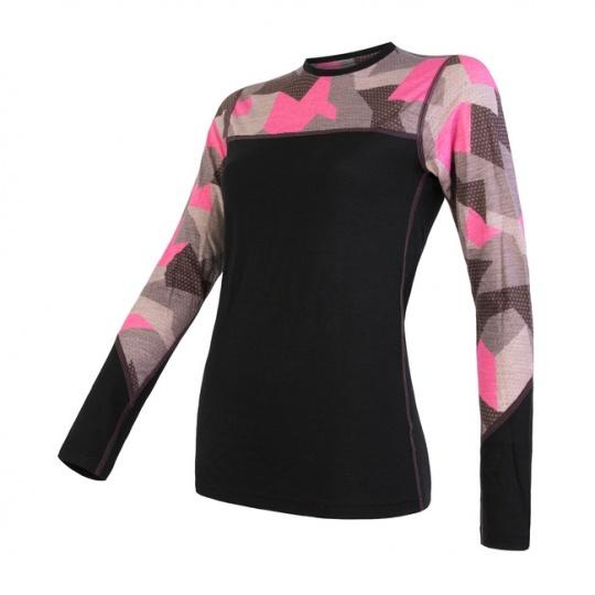 SENSOR MERINO IMPRESS dámské triko dl.rukáv černá/růžová camo