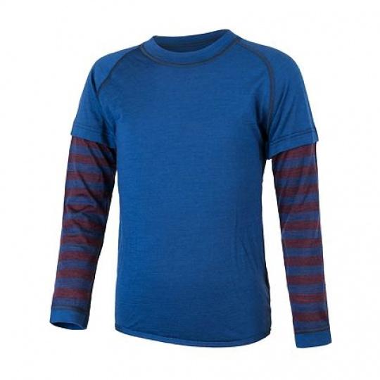 SENSOR MERINO AIR PT dětské triko dl.rukáv tm.modrá/vínová pruhy Velikost: