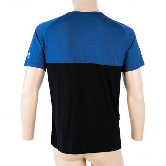 SENSOR MERINO AIR PT pánské triko kr.rukáv s knoflíky modrá/černá Velikost:
