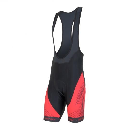 SENSOR CYKLO TEAM pánské kalhoty krátké se šlemi černá/červená