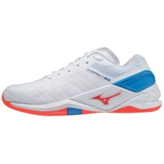MIZUNO WAVE STEALTH NEO / WHITE / IGNITION RED / FRENCH BLUE /