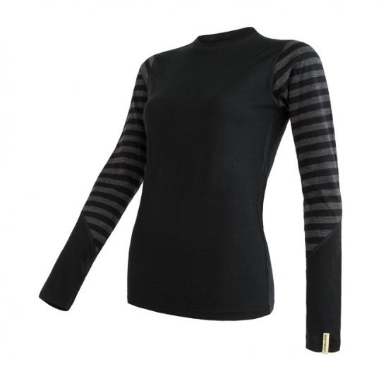 SENSOR MERINO ACTIVE dámské triko dl.rukáv černá/tm.šedá pruhy