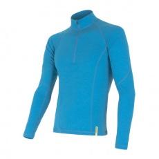 SENSOR MERINO DF pánské triko dl.rukáv zip modrá Velikost: