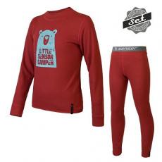 SENSOR DOUBLE FACE SET CAMPER dětský triko dl.rukáv + spodky tm.červená Velikost: