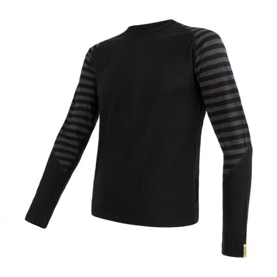SENSOR MERINO ACTIVE pánské triko dl.rukáv černá/tm.šedá pruhy