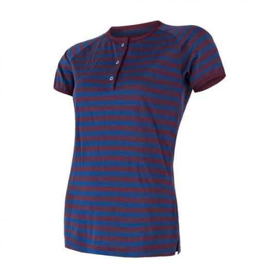 SENSOR MERINO AIR PT dámské triko kr.rukáv s knoflíky modrá/vínová pruhy Velikost: XL