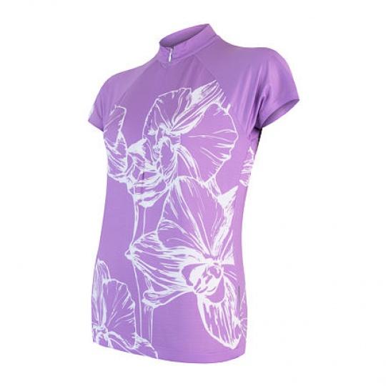 SENSOR CYKLO FLOWERS dámský dres kr.rukáv fialová Velikost: