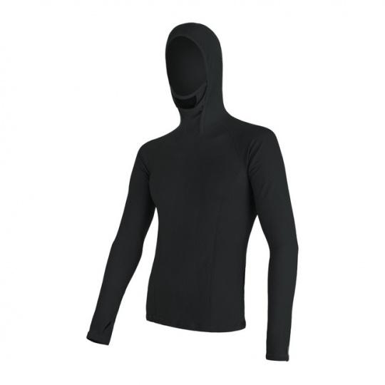 SENSOR MERINO DF pánské triko dl. rukáv s kapucí černá