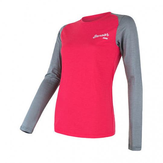 SENSOR MERINO ACTIVE PT LOGO dámské triko dl.rukáv magenta/šedá Velikost: