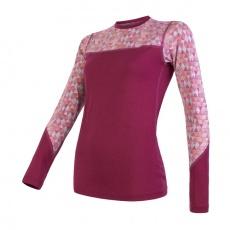 SENSOR MERINO IMPRESS dámské triko dl.rukáv lilla/pattern Velikost: