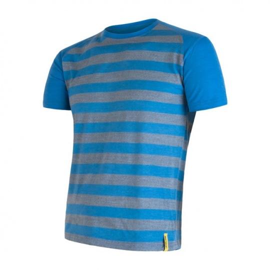 SENSOR MERINO ACTIVE pánské triko kr.rukáv modrá pruhy