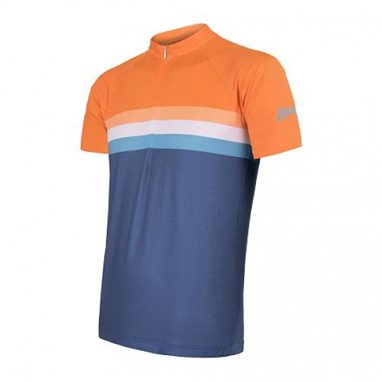 SENSOR CYKLO SUMMER STRIPE pánský dres kr.rukáv modrá/oranžová Velikost: