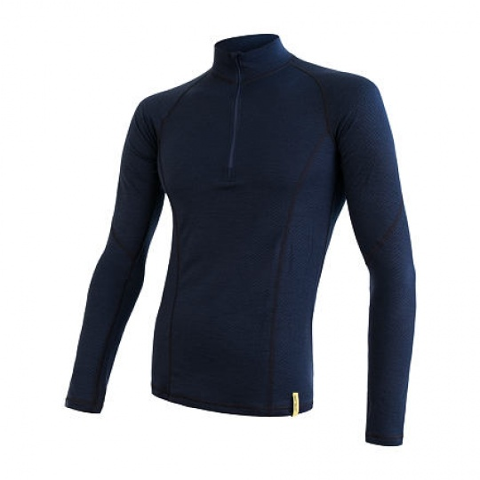 SENSOR MERINO DF pánské triko dl.rukáv zip deep blue Velikost: