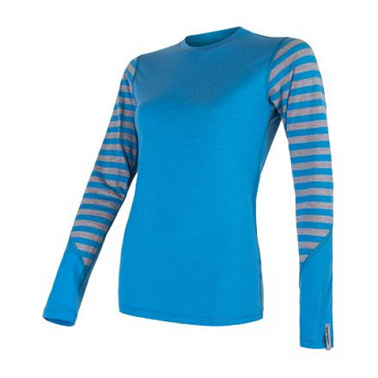 SENSOR MERINO ACTIVE dámské triko dl.rukáv modrá/šedá pruhy Velikost: