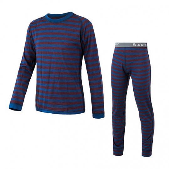 SENSOR MERINO AIR SET dětský triko dl.rukáv + spodky modrá/vínová pruhy Velikost:
