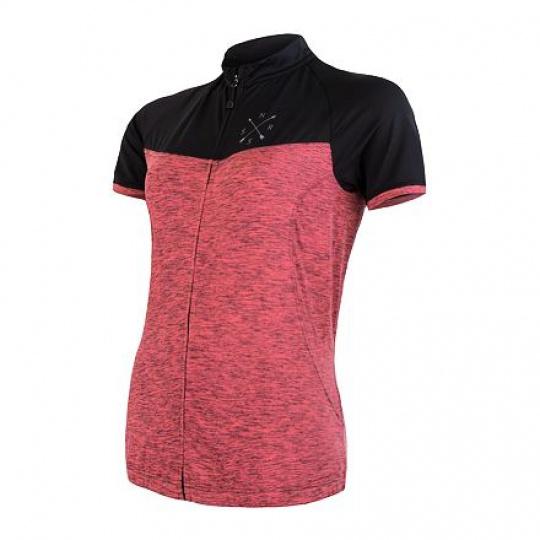 SENSOR CYKLO MOTION dámský dres kr.rukáv celozip růžová/černá Velikost: