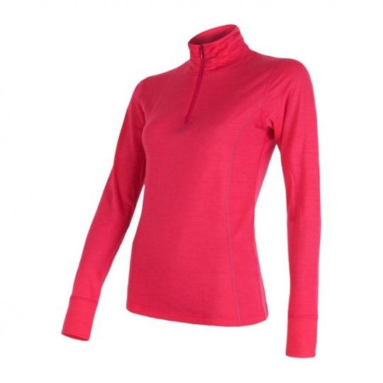 SENSOR MERINO ACTIVE dámské triko dl.rukáv stoják zip lilla