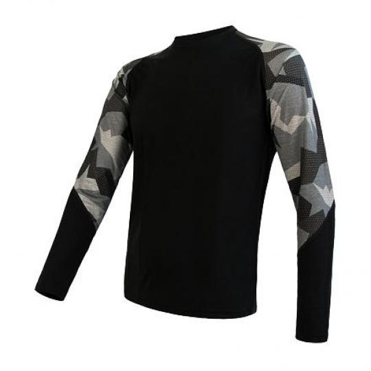 SENSOR MERINO IMPRESS pánské triko dl.rukáv černá/camo Velikost: