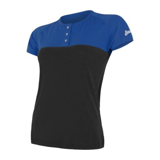 SENSOR MERINO AIR PT dámské triko kr.rukáv s knoflíky modrá/černá