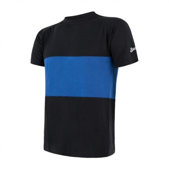 SENSOR MERINO AIR PT pánské triko kr.rukáv černá/modrá