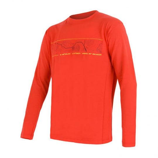 SENSOR MERINO ACTIVE PT GPS pánské triko dl.rukáv červená Velikost: