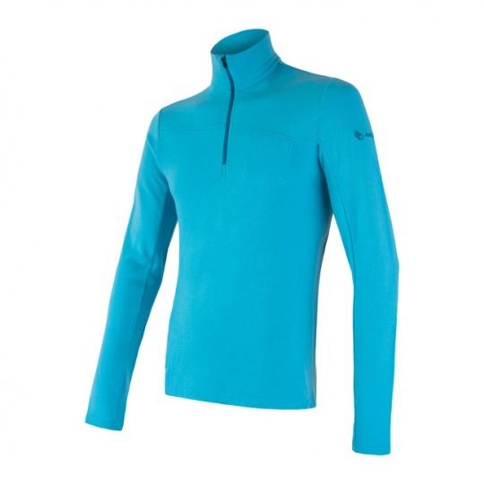 SENSOR MERINO EXTREME pánské triko dl.rukáv zip modrá