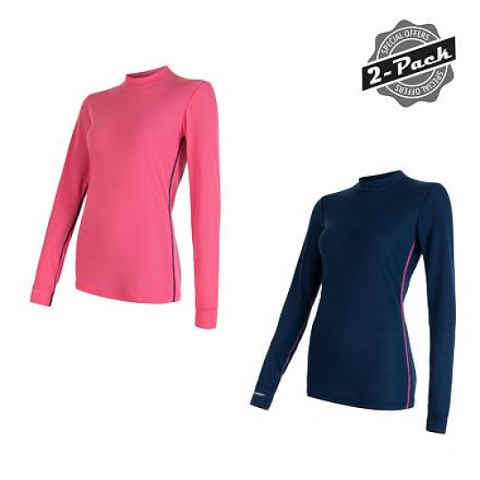 SENSOR ORIGINAL ACTIVE 2-PACK dámský triko dl.rukáv tm.modrá/růžová Velikost: