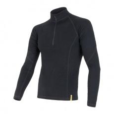 SENSOR MERINO DF pánské triko dl.rukáv zip černá Velikost: