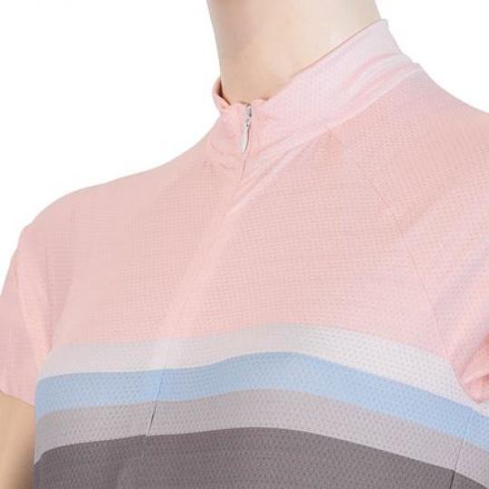SENSOR CYKLO SUMMER STRIPE dámský dres kr.rukáv šedá/růžová Velikost: