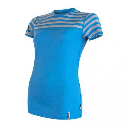 SENSOR MERINO ACTIVE dámské triko kr.rukáv modrá/šedá pruhy Velikost: