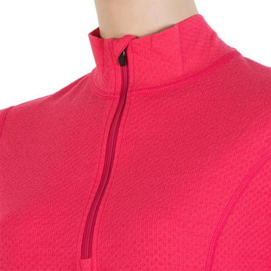 SENSOR MERINO DF dámské triko dl.rukáv zip magenta Velikost: