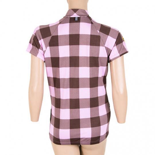 SENSOR CYKLO SQUARE dámský dres kr.ruk. hnědá/růžová Velikost: