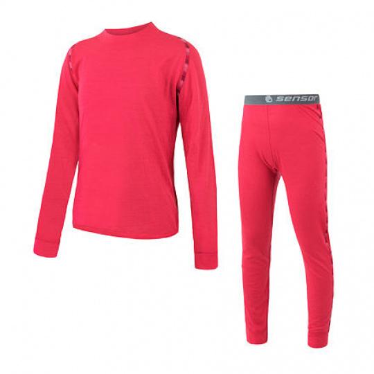 SENSOR MERINO AIR SET dětský triko dl.rukáv + spodky magenta Velikost: